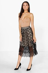 Boohoo Boutique Crochet Lace Midi Skirt Black