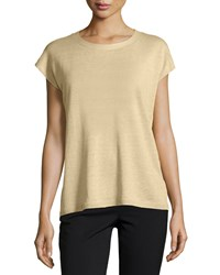 Lafayette 148 New York Cap Sleeve Open Back Sweater Soy Granite