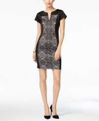 Connected Petite Printed Sheath Dress Black