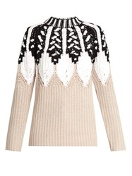 Peter Pilotto Round Neck Intarsia Knit Wool Blend Sweater Beige Multi