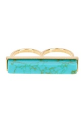 Gemelli Turquoise Chunk Knuckle Ring Green