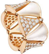 Bulgari Diva 18Ct Pink Gold Mother Of Pearl And Diamond Ring
