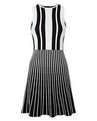 Jaeger Striped Compact Knitted Dress Black