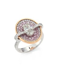Pleve Pink Burst Diamond And 18K White Gold Oval Opus Ring White Gold Pink