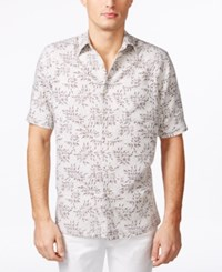 Tasso Elba Men's Big And Tall Naples Cube Leaf Short Sleeve Shirt Only At Macy's Taupe Combo