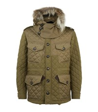 Burberry Chidden Fur Trimmed Quilted Parka Male Khaki