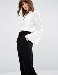 Gestuz Maiden Silk Shirt With Bell Sleeves And Buttons Cloud White