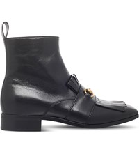 Gucci Gran Duca Fringed Leather Boots Black