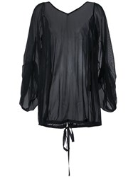 Assin Oversized Mesh Blouse Black
