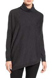 Eileen Fisher Women's Asymmetrical Merino Wool Jersey Turtleneck Charcoal
