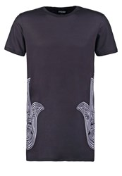 Jaded London Chrome Hamsa Print Tshirt Black