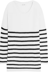 Mih Jeans Oversized Striped Merino Wool Sweater White