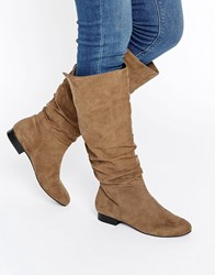 Asos Collaboration Slouch Knee High Boots Taupe Stone