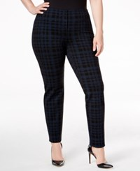 Alfani Plus Size Patterned Skinny Pants Only At Macy's Textured Plaid Navy