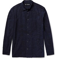 Issey Miyake Men Textured Cotton Shirt Navy