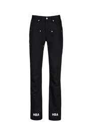 Hood By Air 'Double Sag' Logo Print Cuff Jeans Black