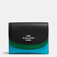 Coach Double Flap Small Wallet In Colorblock Leather Silver Black Multi