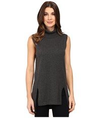 Vince Camuto Sleeveless Turtleneck Sweater With Front Slits Medium Heather Grey Women's Sweater Gray