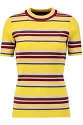 Dkny Striped Ribbed Cotton Blend Sweater Yellow