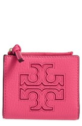 Tory Burch Women's 'Mini Harper' Leather Wallet Pink Fiesta