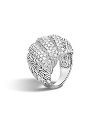 John Hardy Classic Chain Sterling Silver Diamond Pave Dome Ring White Silver
