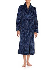 Nautica Plush Print Robe Blue