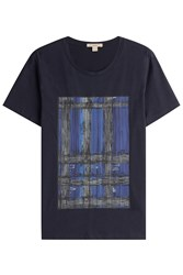 Burberry Brit Printed Cotton T Shirt Blue