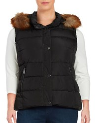 Marc New York Faux Fur Trimmed Quilted Puffer Vest Black
