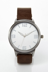 Forever 21 Faux Leather Band Watch Brown