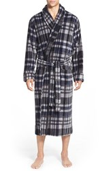 Men's Big And Tall Nordstrom Plaid Terry Robe Navy Check