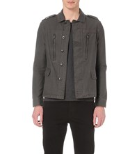 Allsaints Keller Cotton Military Jacket Anthracite Gre