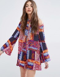 Kiss The Sky Cold Shoulder Romper In Patch Print Multi