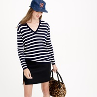 J.Crew Collection Cashmere Boyfriend V Neck Sweater In Stripe