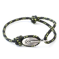 Anchor And Crew London Rope And Silver Bracelet Solid Black