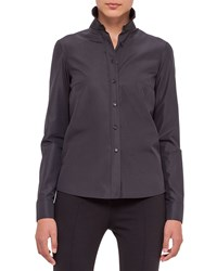 Akris Punto Button Front Perforated Back Blouse Black Size 10