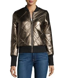 John And Jenn Metallic Quilted Faux Leather Zip Front Jacket Gold