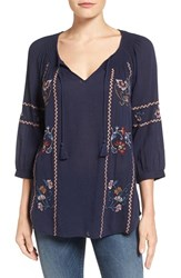 Caslonr Women's Caslon Embroidered Gauze Peasant Top