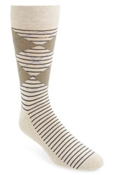 Men's Nordstrom Men's Shop 'Cushion Foot' Argyle And Stripe Socks Beige 3 For 30 Khaki Heather