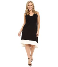 Karen Kane Plus Size Hi Lo Sleeveless Dress Black Cream Women's Dress
