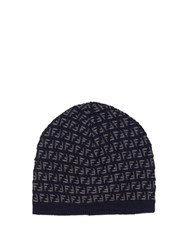 Fendi Intarsia Wool Knit Beanie Navy