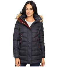 Vince Camuto Faux Fur Trim Hooded Down L8791 Navy Women's Coat