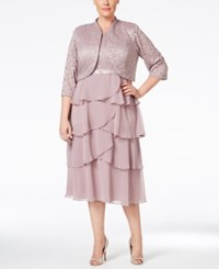 R And M Richards Plus Size Lace Tiered Dress And Jacket Rose