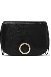 Halston Heritage Lizard Effect Leather Shoulder Bag Black