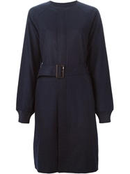 Y 3 Belted Single Breasted Coat Blue