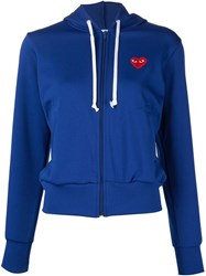 Comme Des Gara Ons Play Heart Application Hooded Jumper Blue