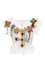 Dolce And Gabbana Jeweled Cross Bustier Top White