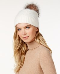 Surell Slouchy Knit Rabbit Fur Pom Beanie Ivory Heather Pom
