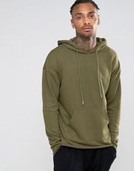 Sixth June Oversized Lightweight Hoodie With Raw Hem Green