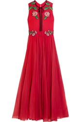 Gucci For Net A Porter Appliqued Silk Blend Organza Gown Red