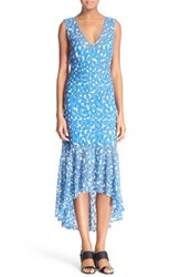 Women's Tracy Reese Stretch Lace High Low Dress Blue Field